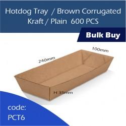 36-Hotdog Tray/Brown Corrugated Kraft/Plain600pcs