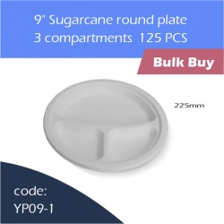 "75-9"" Sugarcane round plate / 3 compartments500pcs"