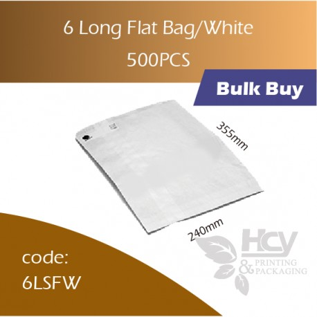 19-6 Long Flat Bag/White一层白纸袋 1000pcs