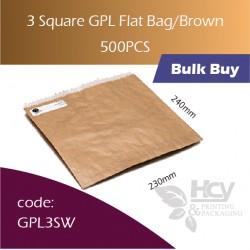 50-3 Square GPL Bag/Brown双层防油牛皮色纸袋 500pcs