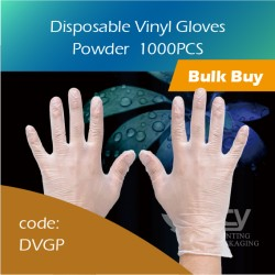 10-Disposable Vinyl Gloves Powder PVC胶手套有粉(大中小) 1000pcs