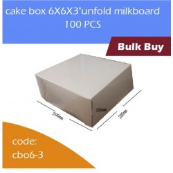 "cake box 6X6X3""unfold milkboard 100pcs白色蛋糕盒"