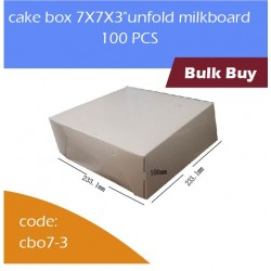 "cake box 7X7X3""unfold milkboard 100pcs白色蛋糕盒"
