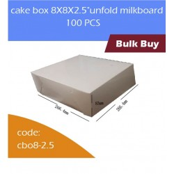 "cake box 8X8X2.5""unfold milkboard 100pcs白色蛋糕合"