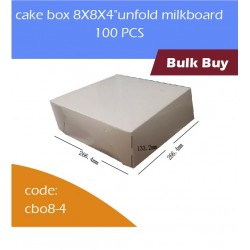 "cake box 8X8X4""unfold milkboard 100pcs白色蛋糕盒"