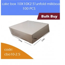 "cake box 10X10X2.5""unfold milkboard 100pcs白色蛋糕盒"