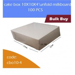 "cake box 10X10X4""unfold milkboard 100pcs白色蛋糕盒"