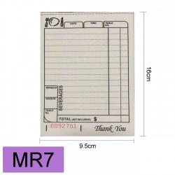 MR7 RESTAURANT SMALLDOCKET BOOK二联白黄100PCS 16X9.5CM