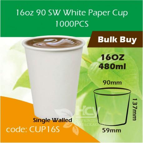 16oz 90 SW White Paper Cup 480ml