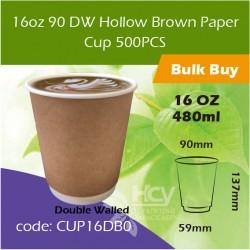 16-16oz 90 DW Hollow Brown Paper Cup 480ml