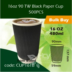 21-16oz 90 TW Black Paper Cup 480ml