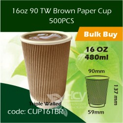 26-16oz 90 TW Brown Paper Cup 480ml