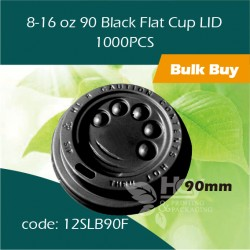 40-8to16 oz 90Black Flat Cup LID平盖1000PCS