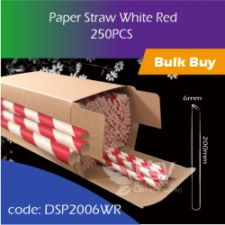 08.Paper Straw White Red白红纸吸管250PCS