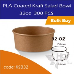 24.PLA Coated Kraft Salad Bowl 32oz沙拉纸碗300PCS