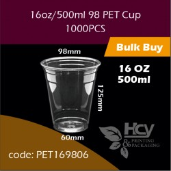 03.PET Cup 16oz/500ml 98冷饮胶杯1000PCS
