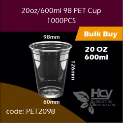 05. PET Cup20oz/600ml 98冷饮胶杯1000PCS