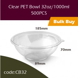 27.Clear PET Bowl 32oz/1000ml透明冻食胶碗500PCS