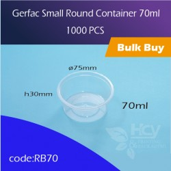 22.Gerfac Small Round Container 70ml 小圆胶盒1000PCS