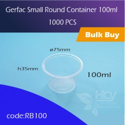 23. Gerfac Small Round Container 100ml 小圆胶盒1000PCS