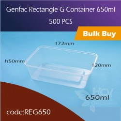 26.Genfac Rectangle G Container 650ml方胶盒500pcs