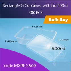 32.Rectangle G Container with Lid 500ml方胶盒连盖300pcs