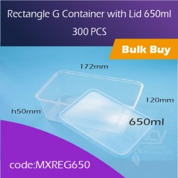 33.Rectangle G Container with Lid 650ml方胶盒连盖300pcs