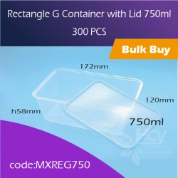 34.Rectangle G Container with Lid 750ml方胶盒连盖300pcs