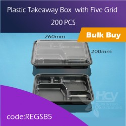 36.Plastic Takeaway Box  with Five Grid  5格快餐盒200pcs