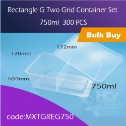 38.Rectangle G Two Grid Container Set 750ml两格方胶盒连盖300pcs