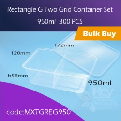 39.Rectangle G Two Grid Container Set 950ml两格方胶盒连盖300pcs