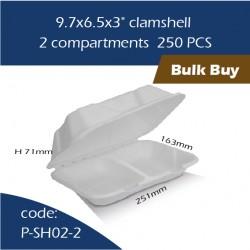 "11-9.7x6.5x3"" clamshell / 2 compartments 250pcs"