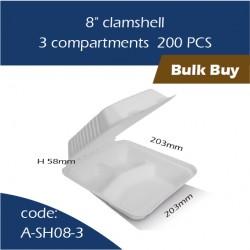 "13-8"" clamshell / 3 compartments 200pcs"