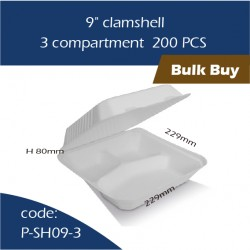 "15-9"" clamshell / 3 compartment 200pcs"