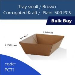 31-Tray small/Brown Corrugated Kraft Plain纸托500pcs