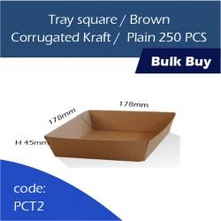 32-Tray square/Brown Corrugated Kraft/Plain250pcs