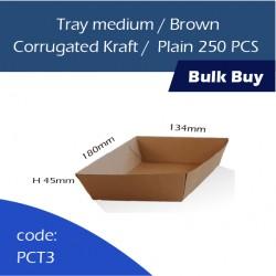 33-Tray medium/Brown Corrugated Kraft/Plain250pcs