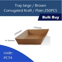 34-Tray large/Brown Corrugated Kraft/Plain纸托250pcs